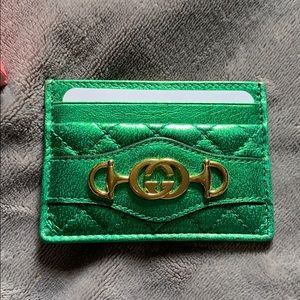 Gucci Zumi Metallic Leather green Card Case